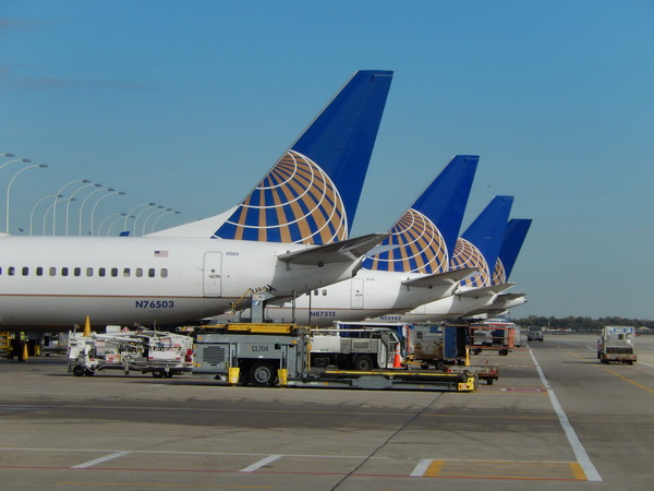[FILE] United Airlines jets are parked at the terminal at O'Hare International Airport in Chicago, Illinois on Oct. 25, 2013.