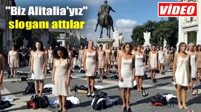 ALITALIA HOSTESLERİNDEN ÇIPLAK PROTESTO